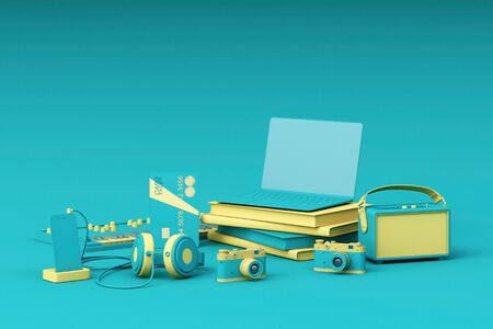 Laptop surrounding by colorful gadgets on green background. 3d rendering Stock fotó