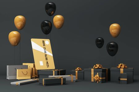 Yellow credit card surrounding by a lot of gift boxs and balloons. 3d rendering