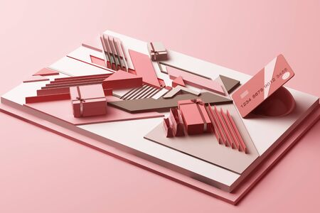 Credit card with gift box concept abstract composition of geometric shapes platforms in pastel pink tone. 3d rendering Imagens