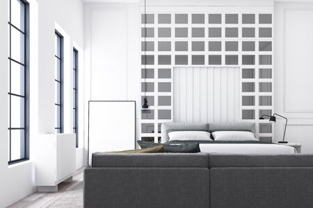 Modern luxury bedroom and living area with classic wall decorate and grey furniture. 3d render Stockfoto
