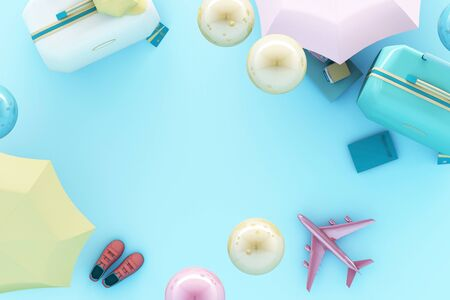 suitcase with traveler accessories on pastel blue background. travel concept. 3d rendering
