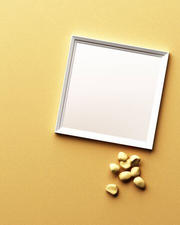 White frame on yellow leather texture background and stone. 3d rendering