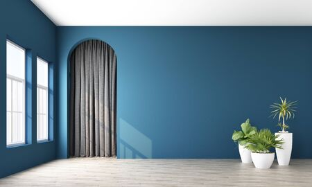 Modern memphis interior with deep blue wall and grey curtain arch. 3d rendering