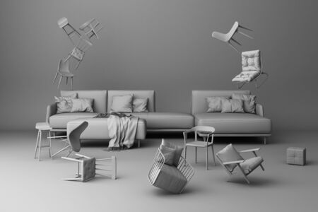 A lot of chairs on a grey background.