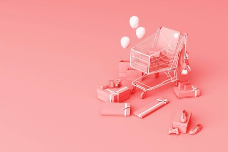 Supermarket shopping cart surrounding by gift box with credit card on pink background. 3d rendering