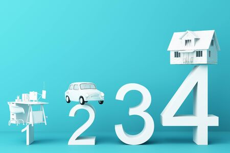 Thinking about home, car and work with another empty space on the white number, the concept of life 3D rendering