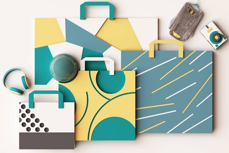 Design with composition of shopping bag by geometric memphis style shapes in yellow and green tone. 3d rendering illustration