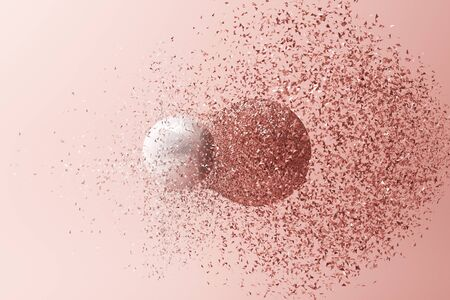 Two balls clashing together resulting in smashed breakup on pink background. 3d rendering Фото со стока
