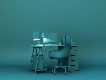 Green desk and decoration.3d rendering Stockfoto