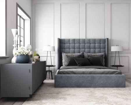 Dormitorio clásico moderno con pared decorada con elementos clásicos y muebles en tono gris. Render 3d