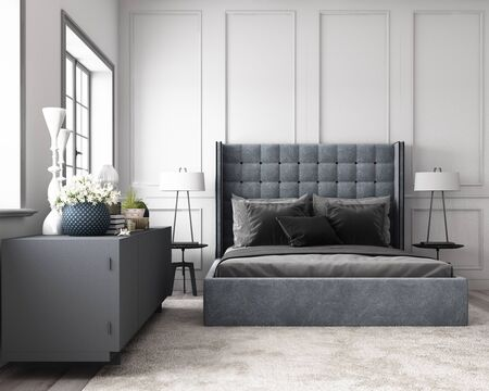 Modern classic bedroom with wall decorate by classic element and furniture grey tone. 3d render