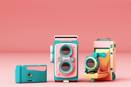 Colorful vintage camera on a pink background.-3d render.