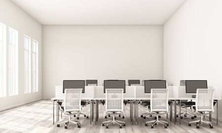 Interior of modern white office with rows of white computer tables with white chairs, wooden floor. 3d rendering