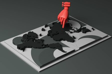 World map with humans hand and bomb concept abstract composition of geometric shapes platforms in black tone. 3d rendering