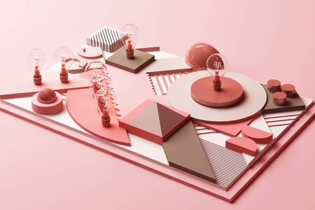 light bulbs concept abstract composition of geometric shapes platforms in pastel pink tone. 3d rendering