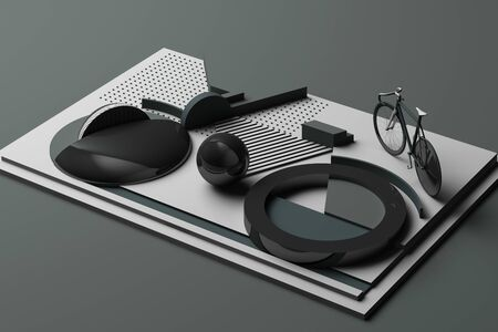 Geometric Shape of Bike Sport Concept in grey colour tone. 3d Rendering