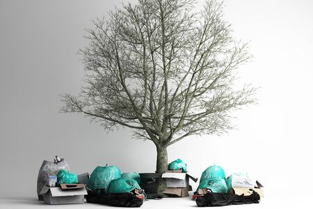 Dead tree Surrounded by a lot of rubbish and trash bags lying around dump. 3d rendering