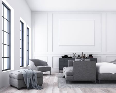 Modern luxury bedroom with classic wall decorate and grey furniture. 3d render