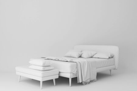 White bed and seating.3d rendering Stockfoto