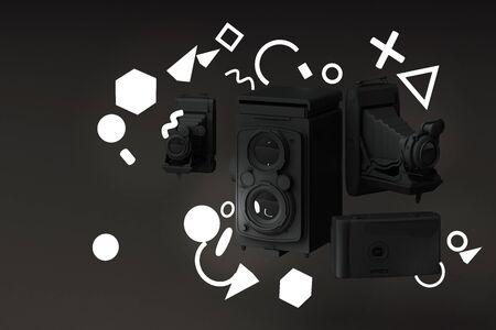 Black vintage camera surrounding by memphis pattern light on a black background.