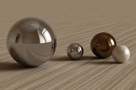 Geometric shapes with room environment reflected on sphere. 3d rendering Stockfoto