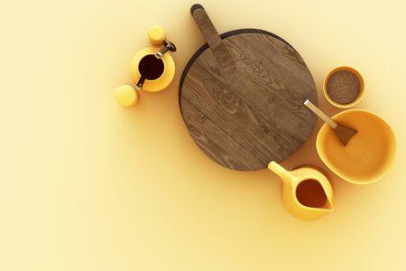 Kitchenware on yellow background. 3d rendering Zdjęcie Seryjne