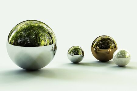 Geometric shapes with forest environment reflected on sphere. 3d rendering Stockfoto