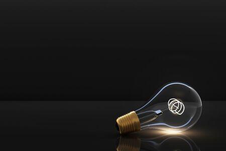 Low glowing electric vintage bulb lamp on dark background. 3d rendering