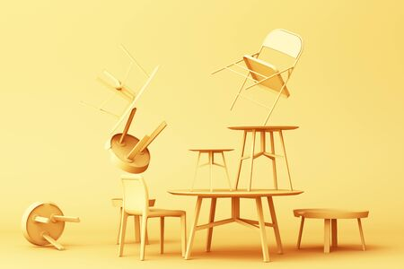 A lot of Chairs and coffee table in yellow colour tone. 3d rendering Stockfoto