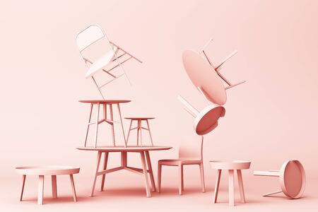 A lot of Chairs and coffee table in pastel pink tone. 3d rendering Stockfoto