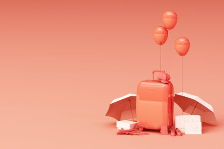 Suitcase with traveler accessories on orange background. travel concept. 3d rendering