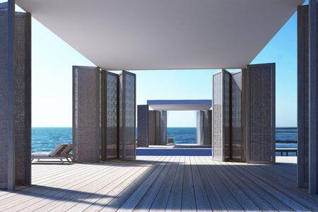 Beach living on Sea view. 3d rendering