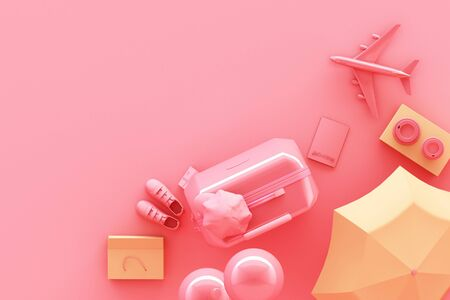 suitcase with traveler accessories on pastel pink background. travel concept. 3d rendering