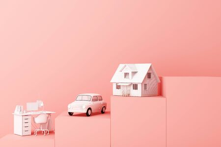 Thinking about home, car and work with another empty space on the pink pedestal, the concept of life 3D rendering 写真素材