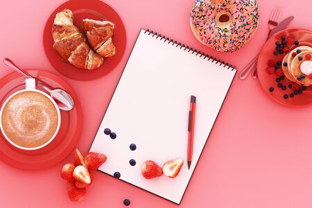 Coffee cup and croissant and hamburger in the plate with clipboard on pink background. 3d render