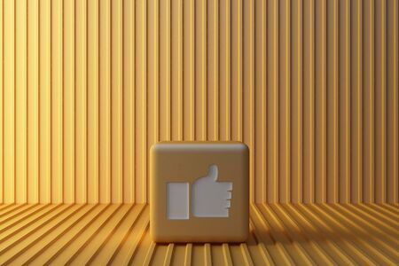Yellow Like icon 3d box with yellow background. 3d rendering Stok Fotoğraf