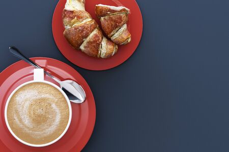 Coffee cup and croissant in the plate on grey background. 3d render
