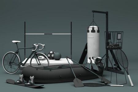 Sport equipment on black background. 3d rendering