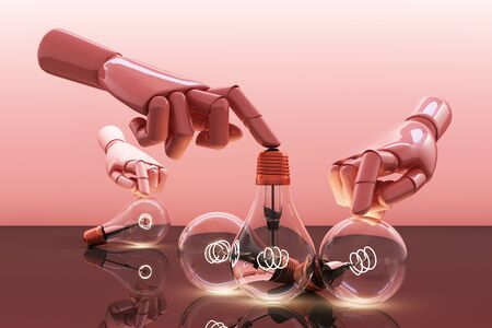 Low glowing electric vintage bulb lamp with hand on pink background. 3d rendering