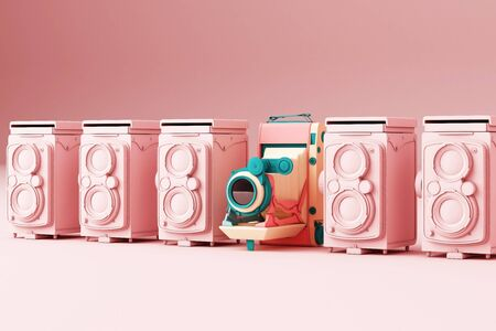Colorful vintage camera surrounding by pink vintage camera on a pink background.-3d render. 스톡 콘텐츠