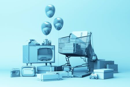 Supermarket shopping cart surrounding by gift box with credit card and many gadget on blue background. 3d rendering