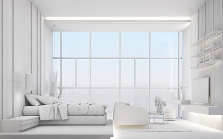 Modern luxury bedroom and living area with wooden and marble texture, all white concept. 3d rendering Stockfoto