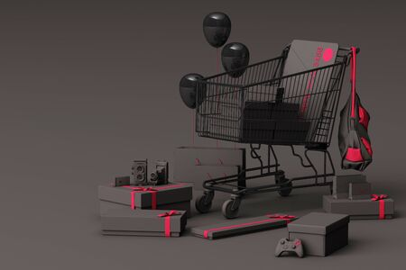 Supermarket shopping cart surrounding by gift box with credit card on grey background. 3d rendering