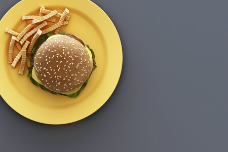 hamburger with french fries in the plate on grey background. 3d render