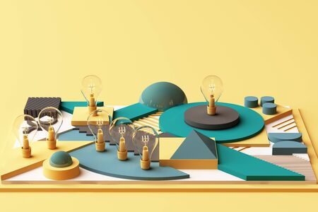 light bulbs concept abstract composition of geometric shapes platforms in green and yellow tone. 3d rendering