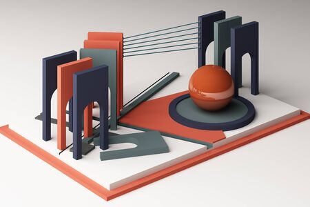 3d rendering geometric composition in orange and blue tone color.