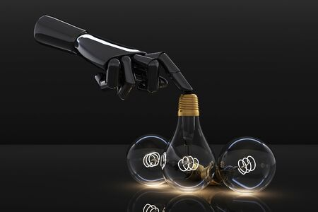 Low glowing electric vintage bulb lamp on dark background and black hand. 3d rendering Stock fotó