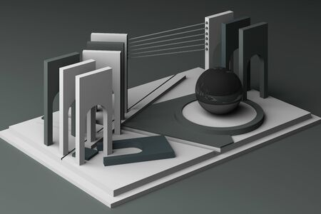 3d rendering geometric composition in grey tone color.