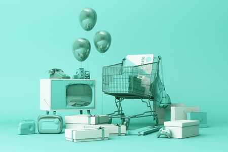 Supermarket shopping cart surrounding by gift box with credit card and many gadget on green background. 3d rendering Stock Photo