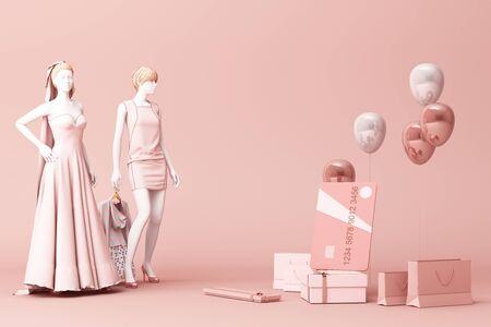 Maniquí rodeado por una bolsa de compras y la caja de regalo con tarjeta de crédito en el fondo rosa. Representación 3d Foto de archivo